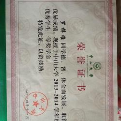 中山大学一等奖奖学金证书