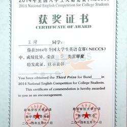 全国大学生英语竞赛三等奖