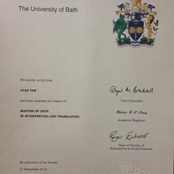 英国巴斯大学口笔译硕士学位证书