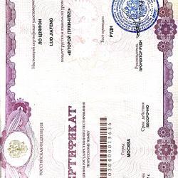 俄语B2等级证书
