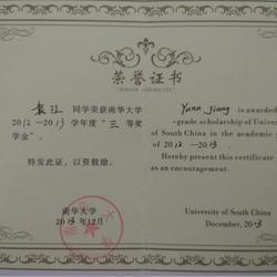 大学奖学金荣誉证书