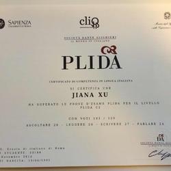 由意大利罗马第一大学颁发的PLIDA-意大利语C2等级证书,并经意大利外交部官方认证