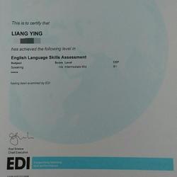Jul. 2012 - LCCI Certificate of Level B1 Intermediate Mid (Speaking)