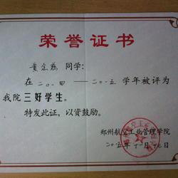 2014-2015年郑州航空工业管理学院三好学生
