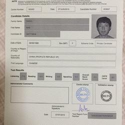 IELTS Test Certificate
