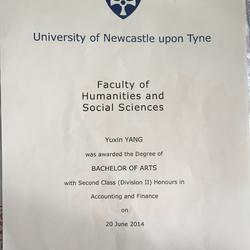 英國紐卡斯爾大學畢業證書
