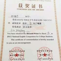 全国大学生英语竞赛B类(英语专业)二等奖